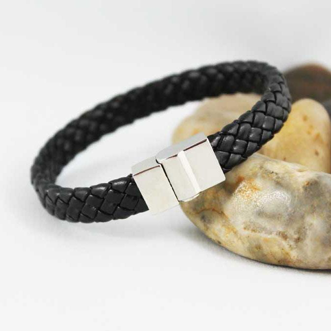 Black Leather Magnetic Bracelet - Gothic Grace