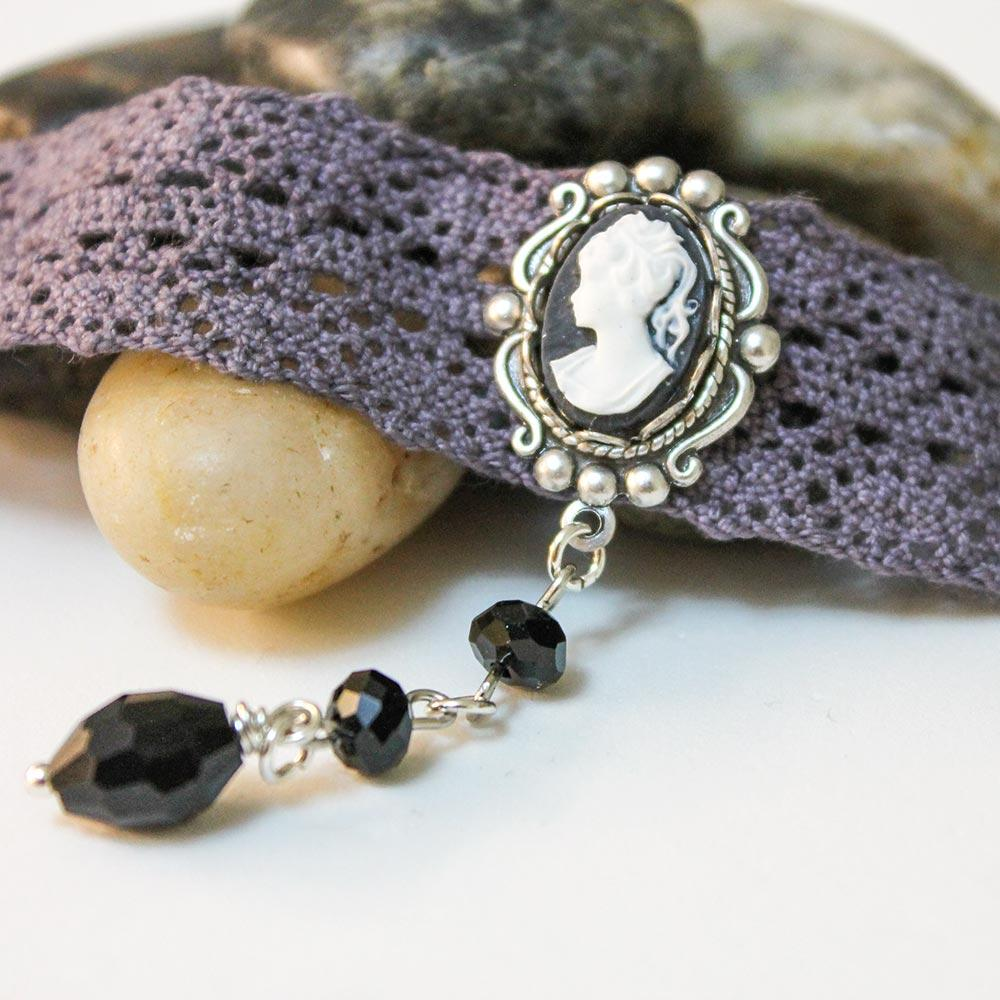 Cameo Choker Necklace, Victorian Grey Lace Choker - Gothic Grace