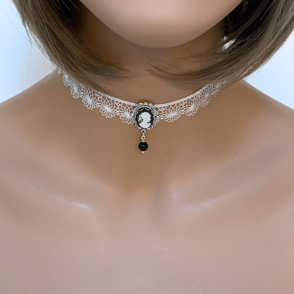 Black Cameo White Lace Victorian Choker - Gothic Grace