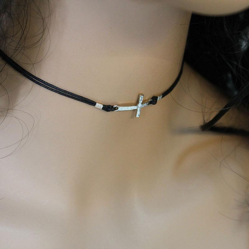 Black Cord Silver Sideways Cross Choker - Gothic Grace