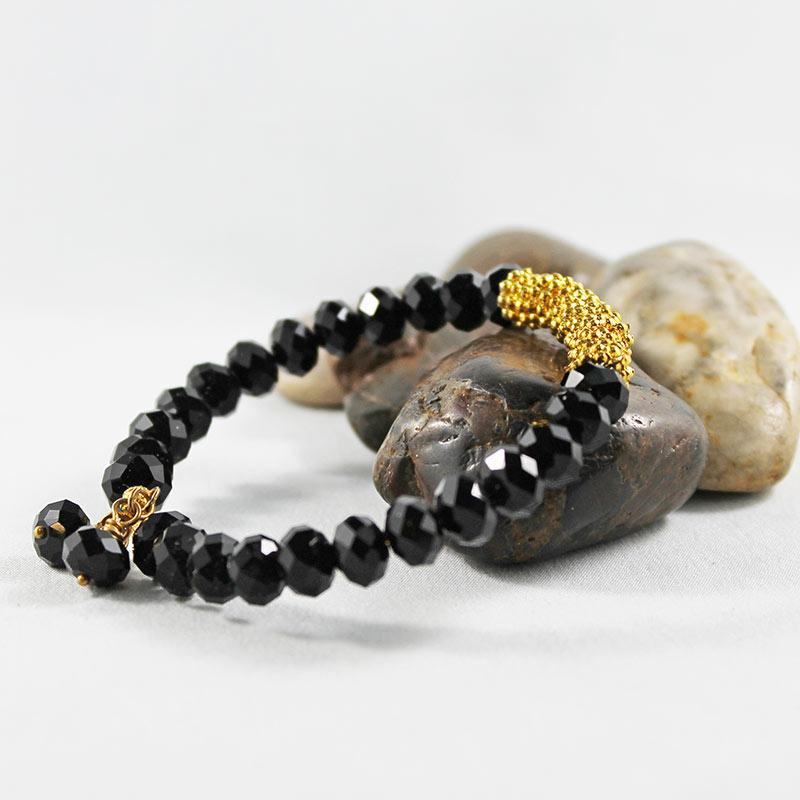 Black Crystal Bead Bangle Bracelet - Gothic Grace