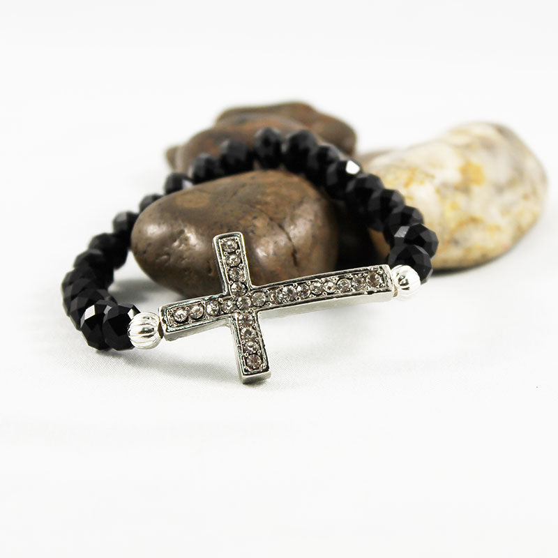 Black Crystal Sideways Cross Bracelet - Gothic Grace