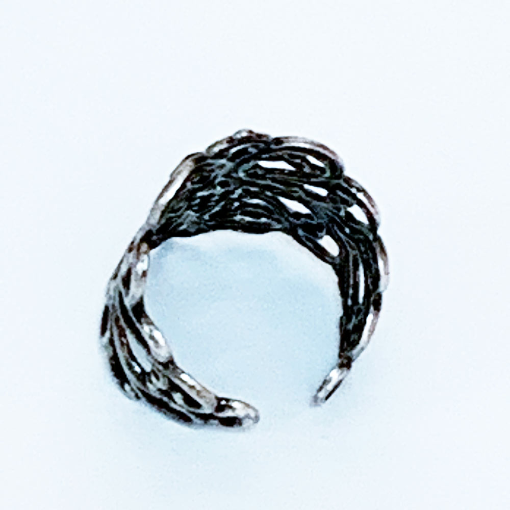 Back of Gothic Victorian Black Crystal Silver Knuckle Ring | Gothic Grace