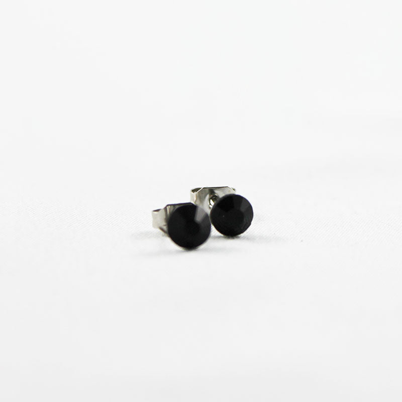 Black Crystal Stud Earrings - Gothic Grace