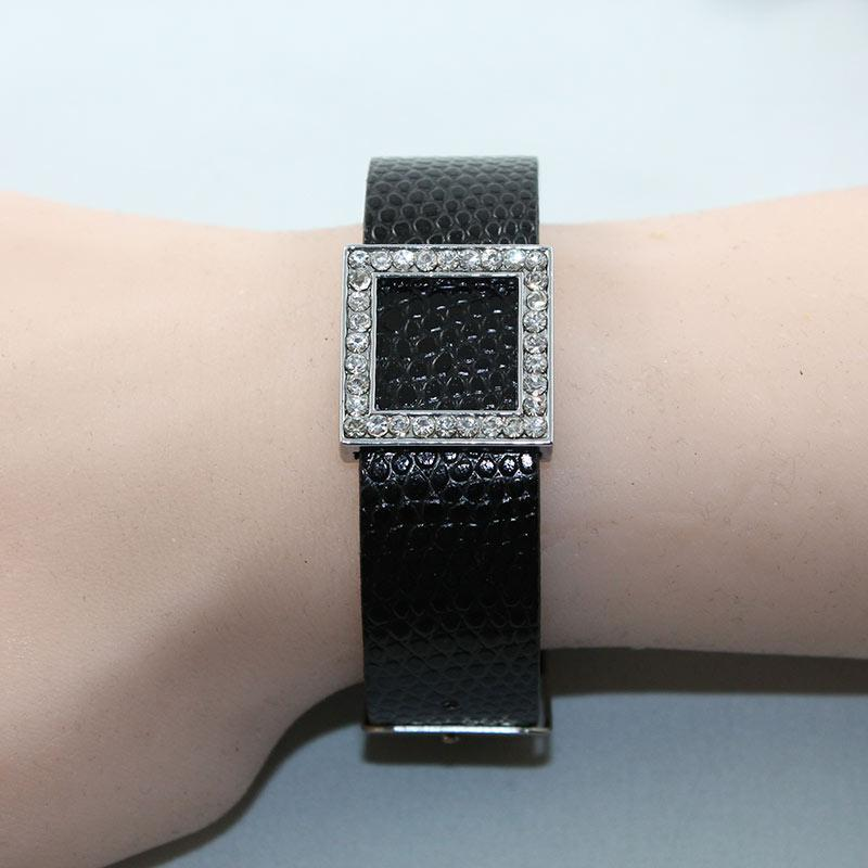 Black Faux Leather Bracelet - Gothic Grace