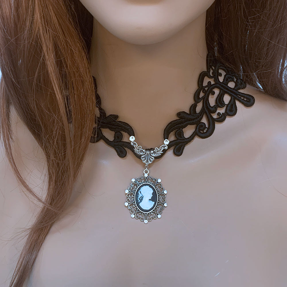 Black Lace Victorian Gothic Cameo Necklace