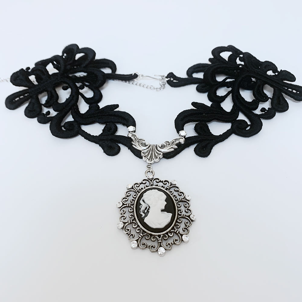 Black Lace Victorian Cameo Necklace | Gothic Grace