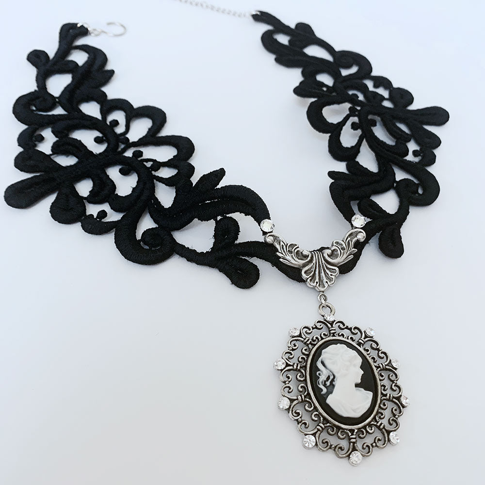 Black Lace Gothic Cameo Necklace | Gothic Grace