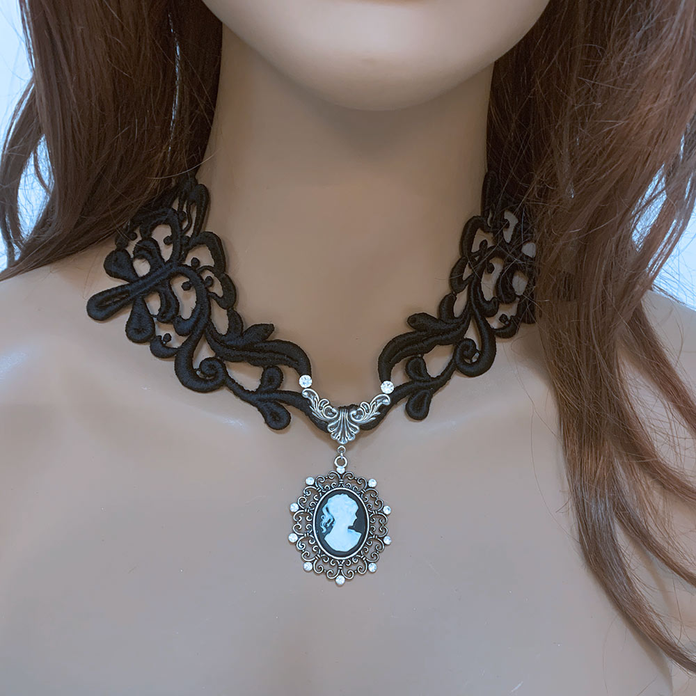 Black Victorian Gothic Cameo Necklace | Gothic Grace