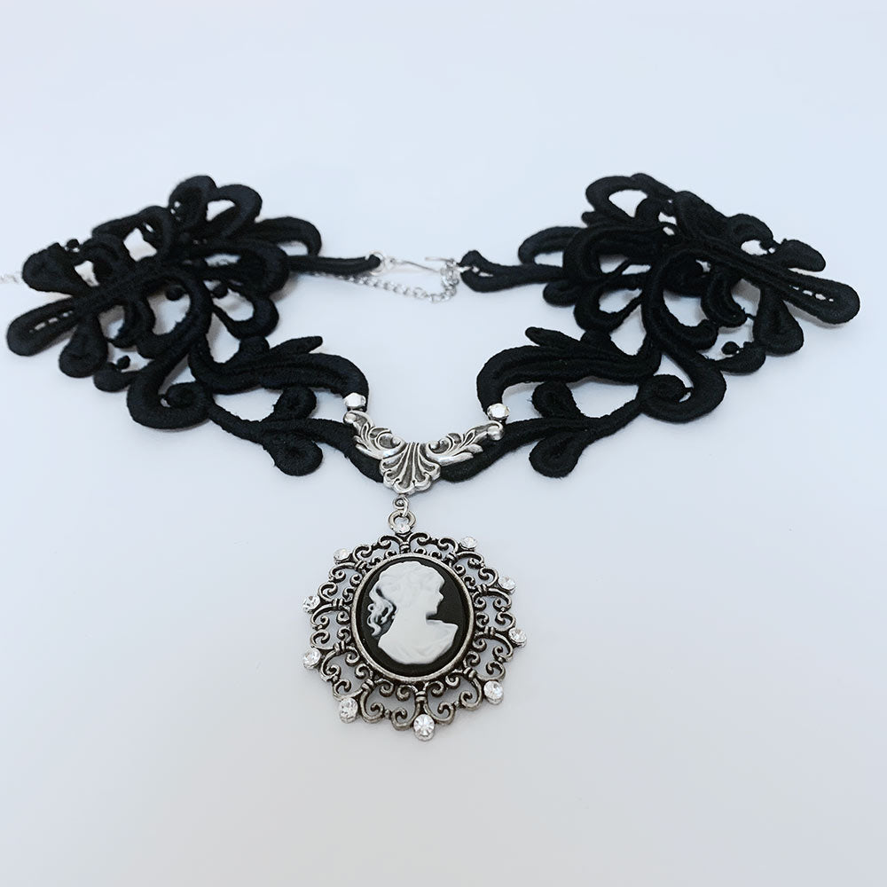 Black Lace Victorian Gothic Cameo Necklace | Gothic Grace