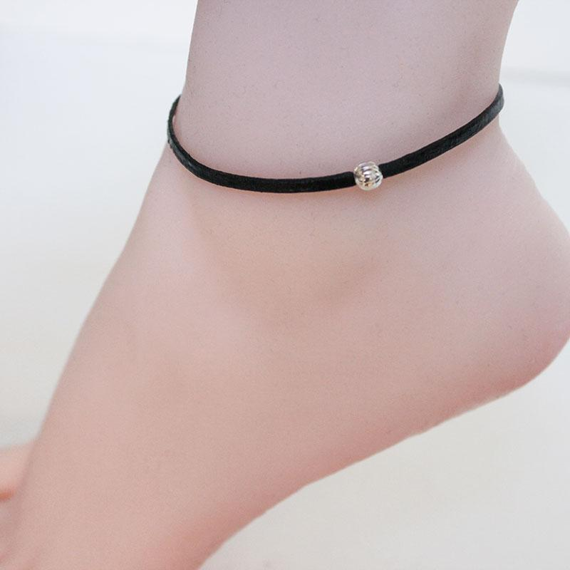 Simple Black Leather Anklet - Gothic Grace