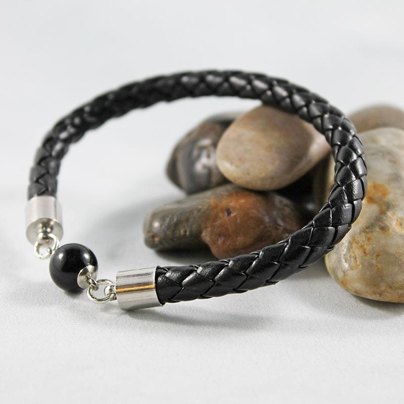 Black Leather Bangle Bracelet - Gothic Grace