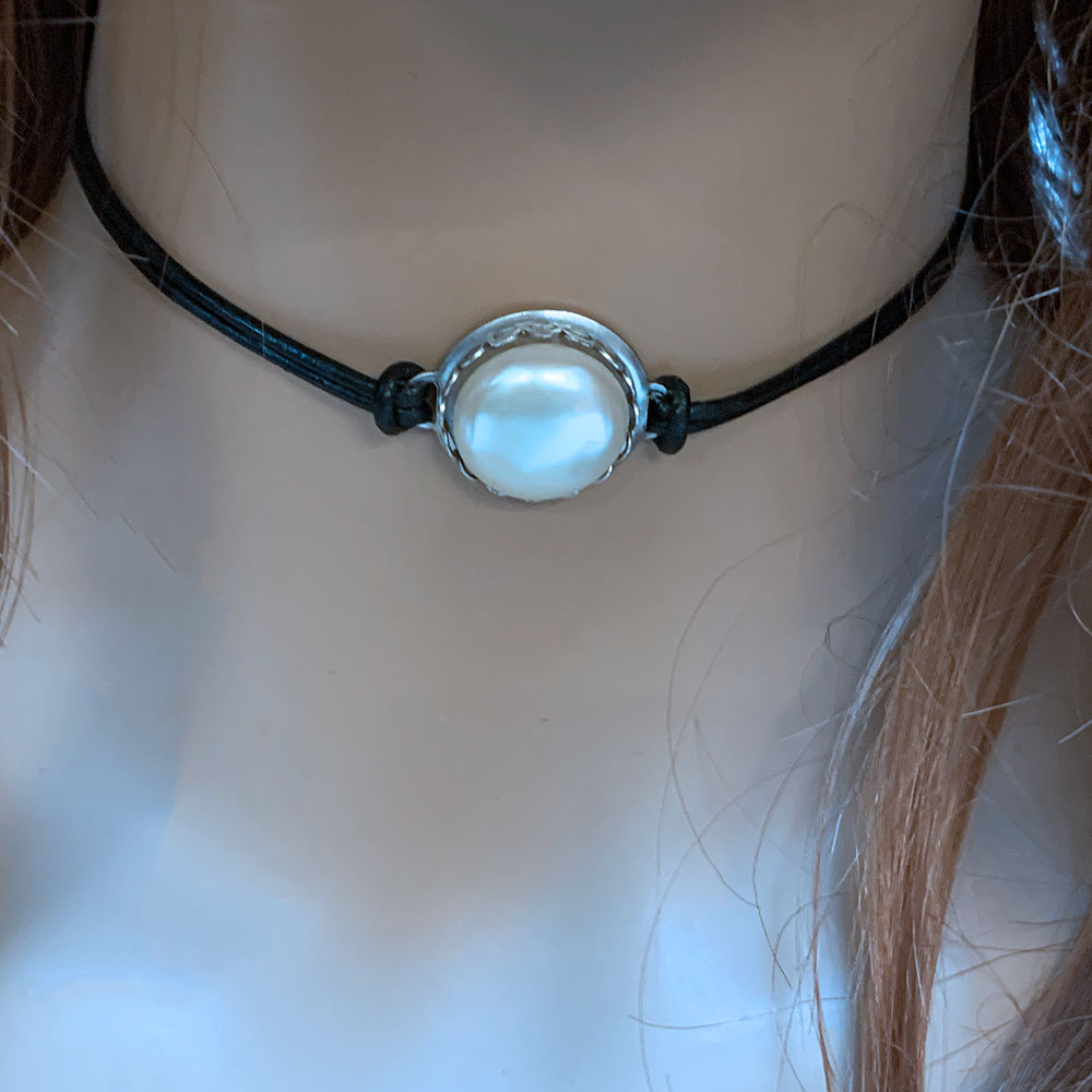 Black Leather Pearl Choker  Gothic Grace