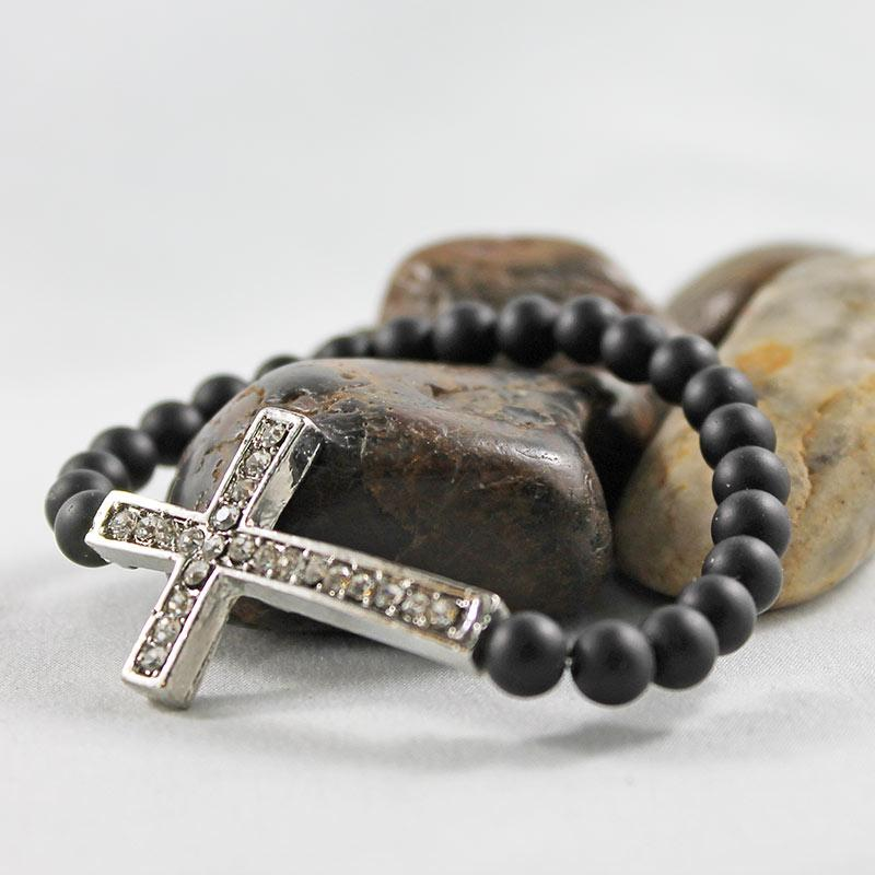 Black Matte Beaded Rhinestone Cross Bracelet - Gothic Grace
