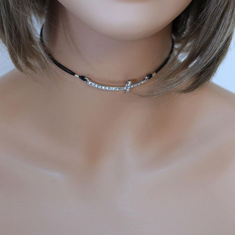 Sparkly Sideways Cross Choker - Gothic Grace