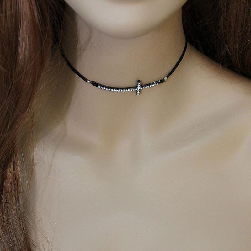 Black Sparkly Sideways Cross Choker - Gothic Grace