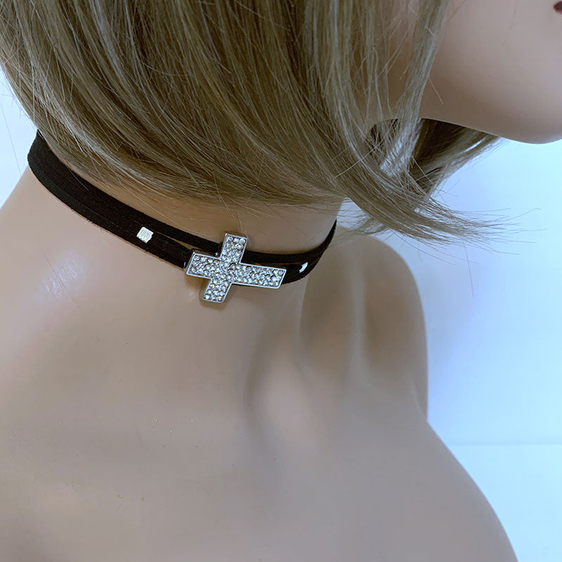 Black Suede Sparkly Cross Choker | Gothic Grace
