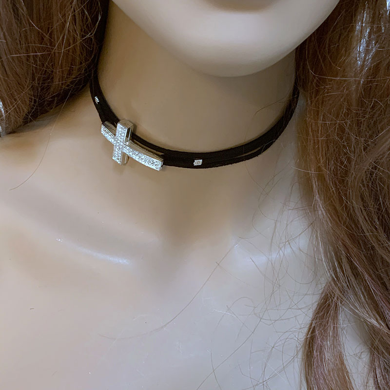 Black Suede Cross Choker | Gothic Grace