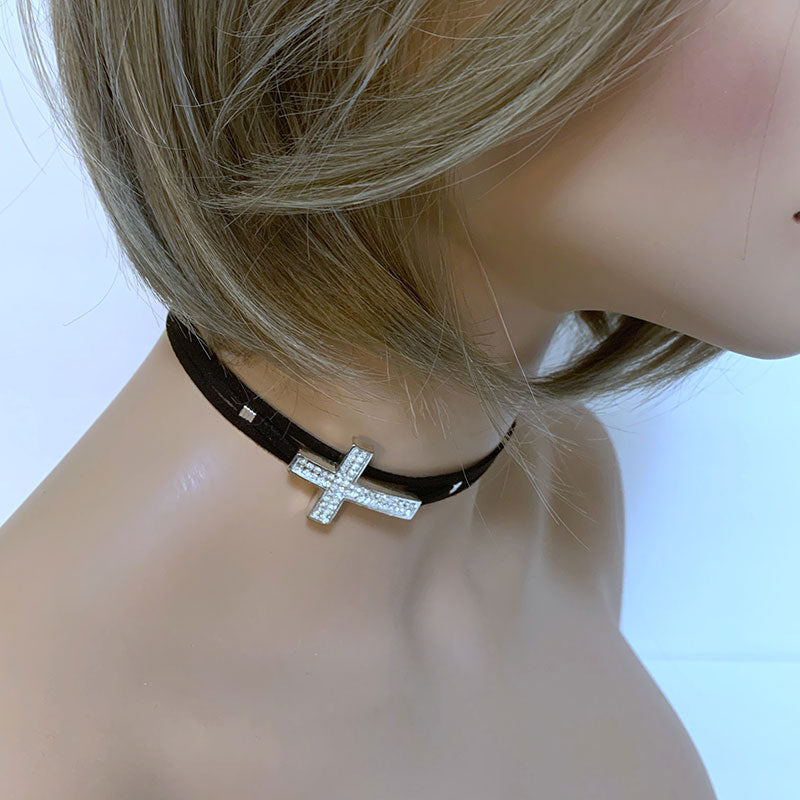 Black Suede Sparkle Cross Choker | Gothic Grace