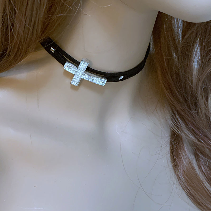 Black Suede Sparkle Sideways Cross Choker | Gothic Grace