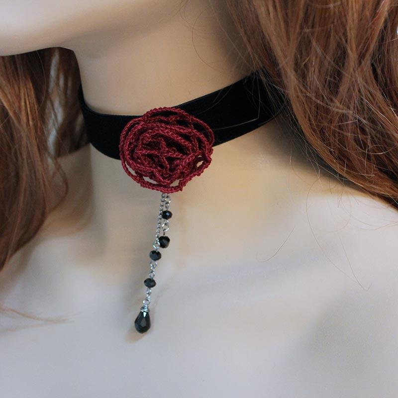 Red Rose Black Velvet Victorian Choker - Gothic Grace