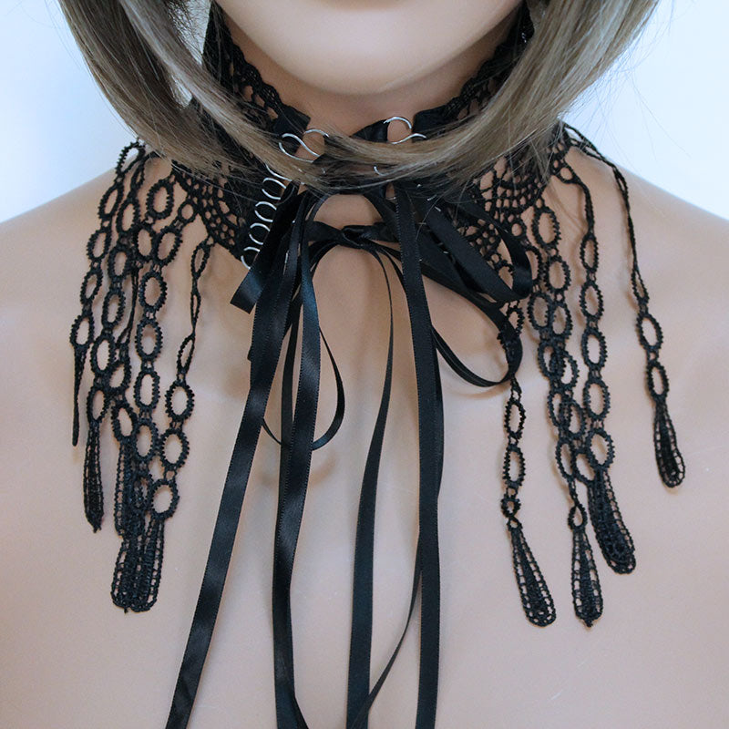 Victorian Choker Necklace, Black Wide Lace Ribbon - Gothic Grace