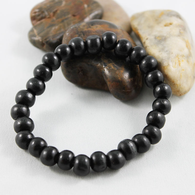 Black Wood Bead Stretch Bracelet - Gothic Grace
