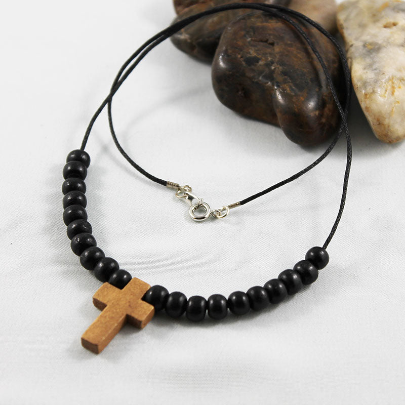 Black Wood Bead Cross Necklace - Gothic Grace