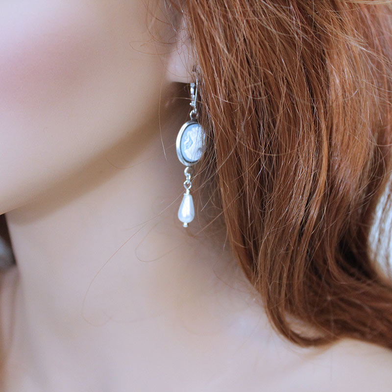 Blue Cameo Silver Earrings - Gothic Grace