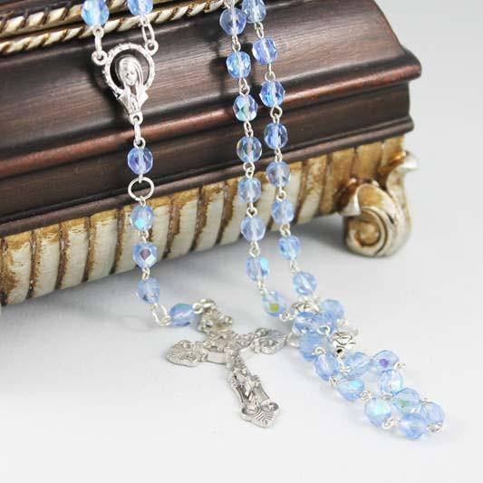 Blue Crystal Silver Cross Rosary Necklace - Gothic Grace