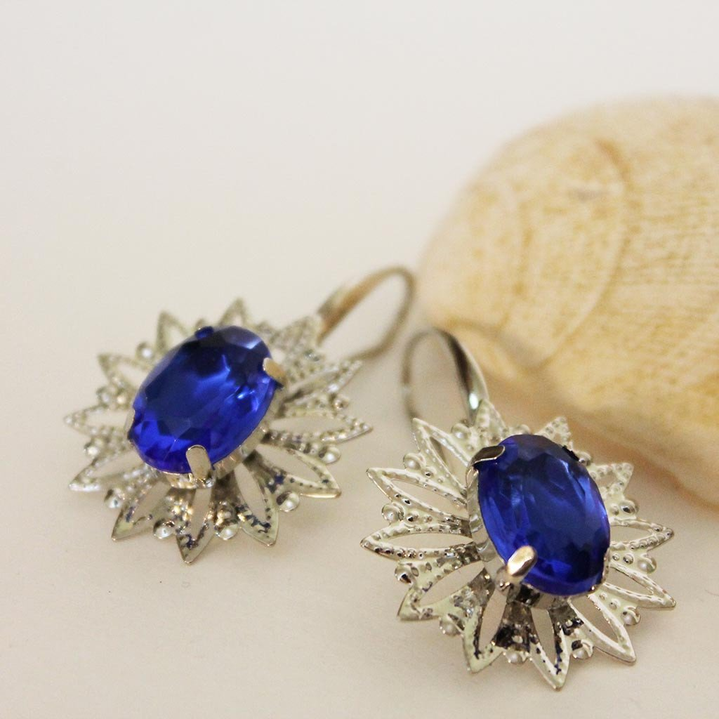 Blue Crystal Silver Filigree Dangle Earrings - Gothic Grace