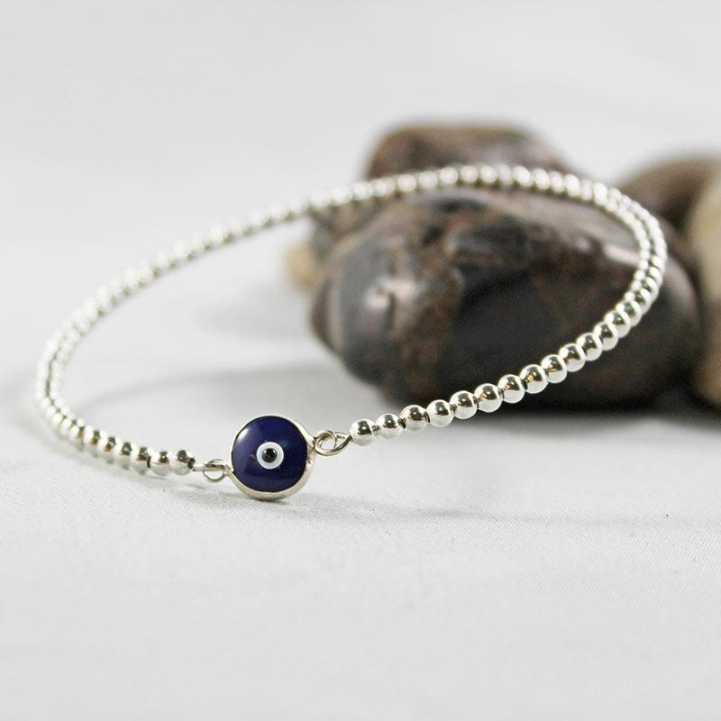 Blue Evil Eye Protection Bangle Bracelet - Gothic Grace