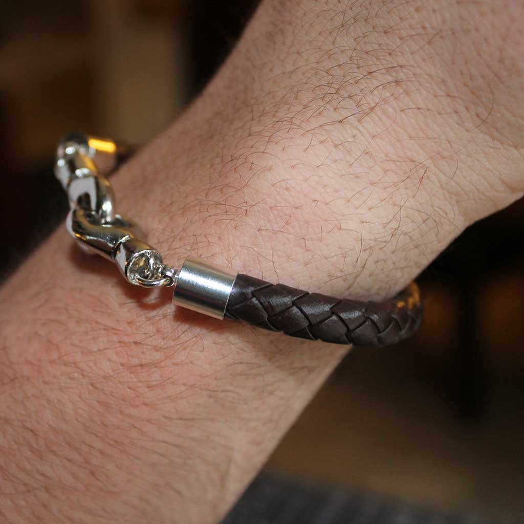 Black Braided Leather Bracelet - Gothic Grace