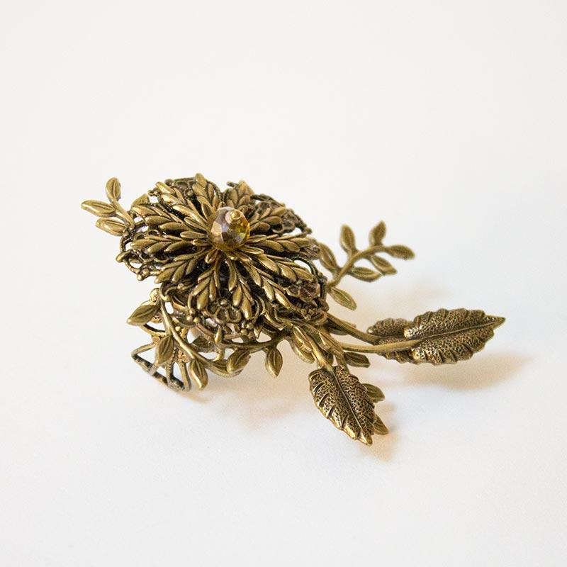 Gold Flower Cocktail Statement Ring - Gothic Grace