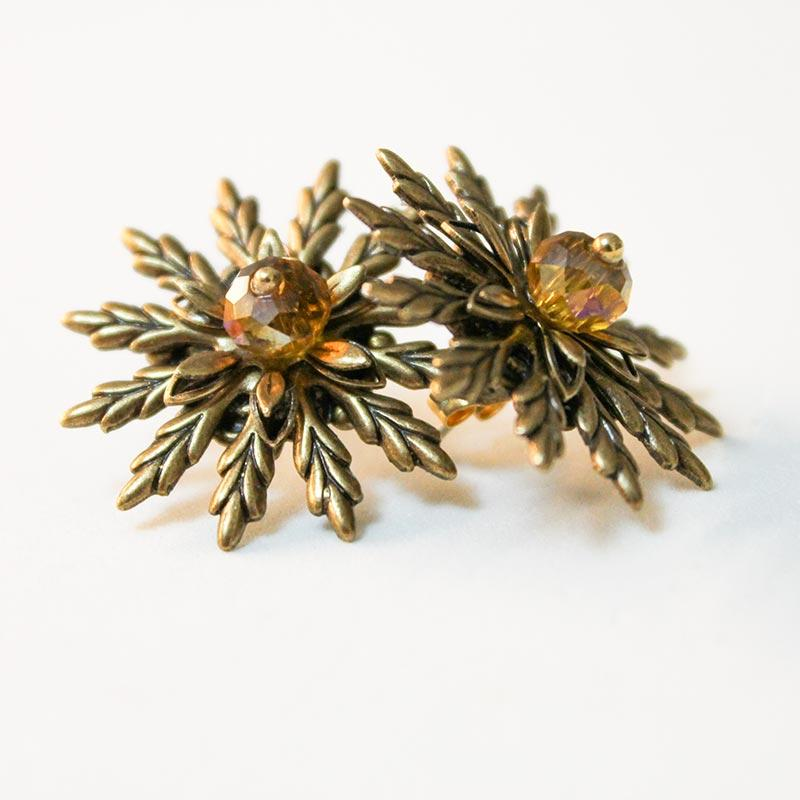 Golden Flower Earrings - Gothic Grace