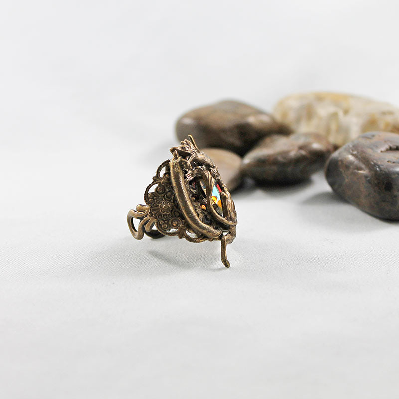 Brass Medieval Dragon Ring, Fantasy Neo Victorian Gothic Jewelry - Gothic Grace