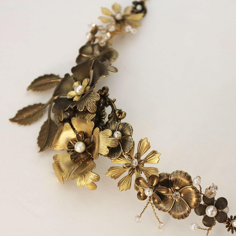 Golden Flower Statement Necklace, Wedding Jewelry - Gothic Grace
