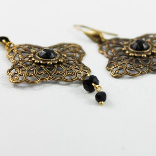 Long Brass Filigree Victorian Dangle Earrings - Gothic Grace
