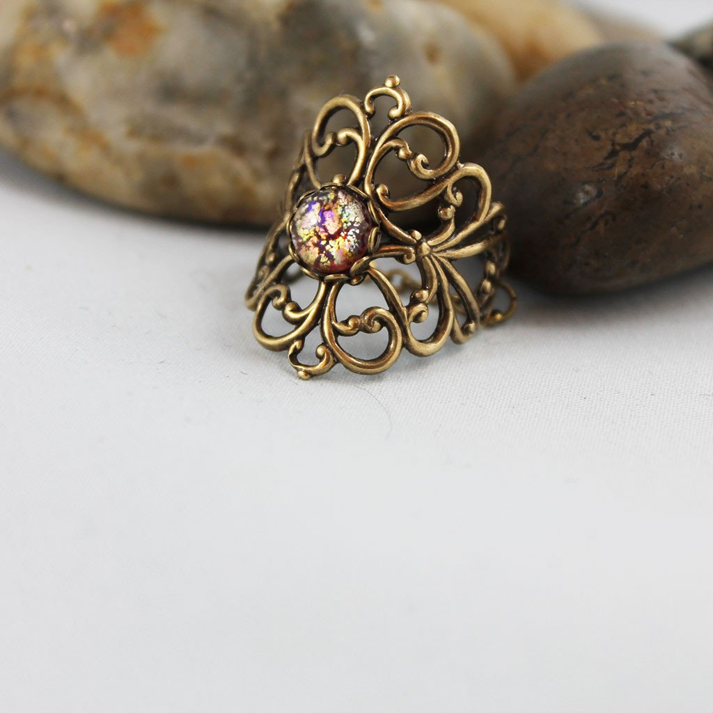 Victorian Oxidized Brass Filigree Ring - Gothic Grace