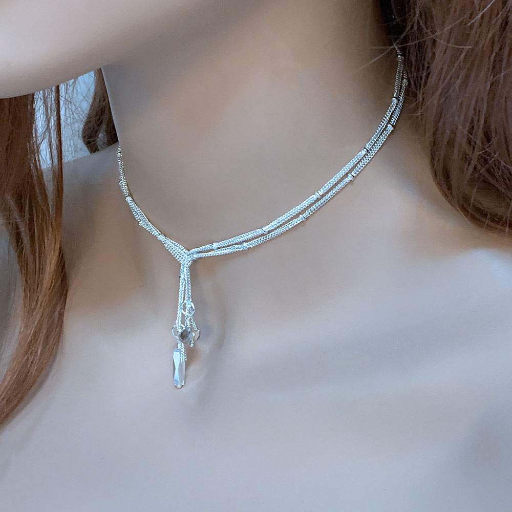 Silver Lariat Necklace, 31"