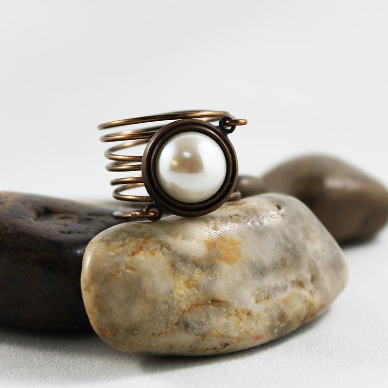 Bronze Wire Wrapped Pearl Ring - Gothic Grace
