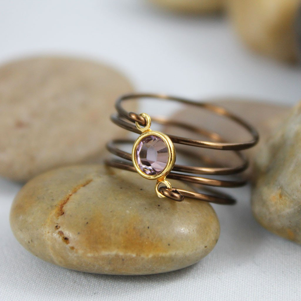 Wire Wrapped Pink Swarovski Crystal Ring - Gothic Grace