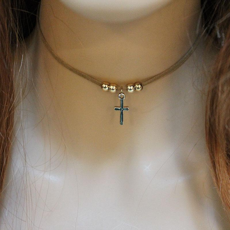 Brown Suede Cross Pendant Choker Necklace - Gothic Grace