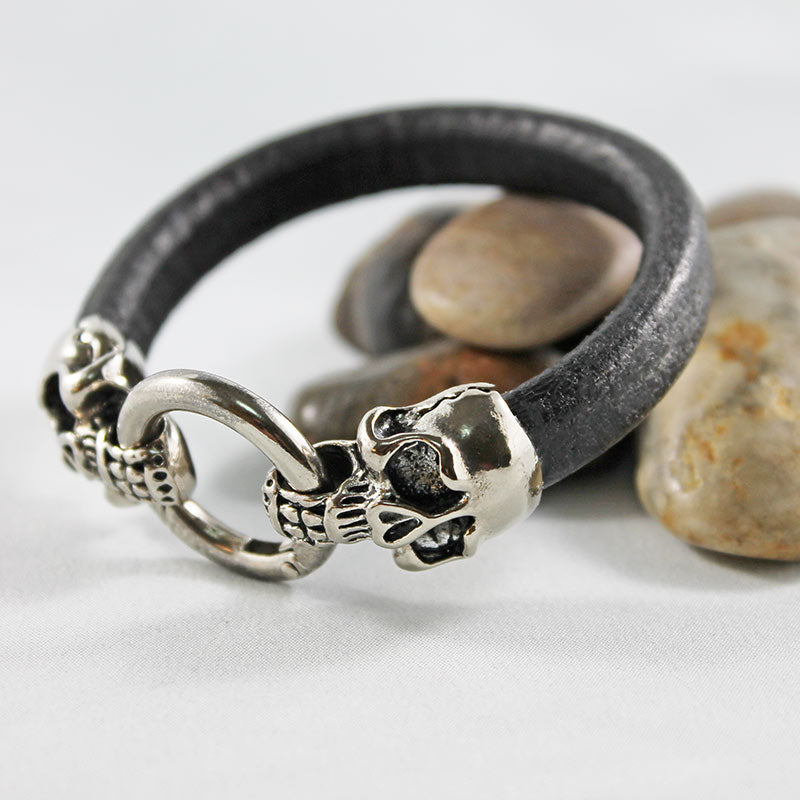 Brown Leather, Skull Bracelet - Gothic Grace