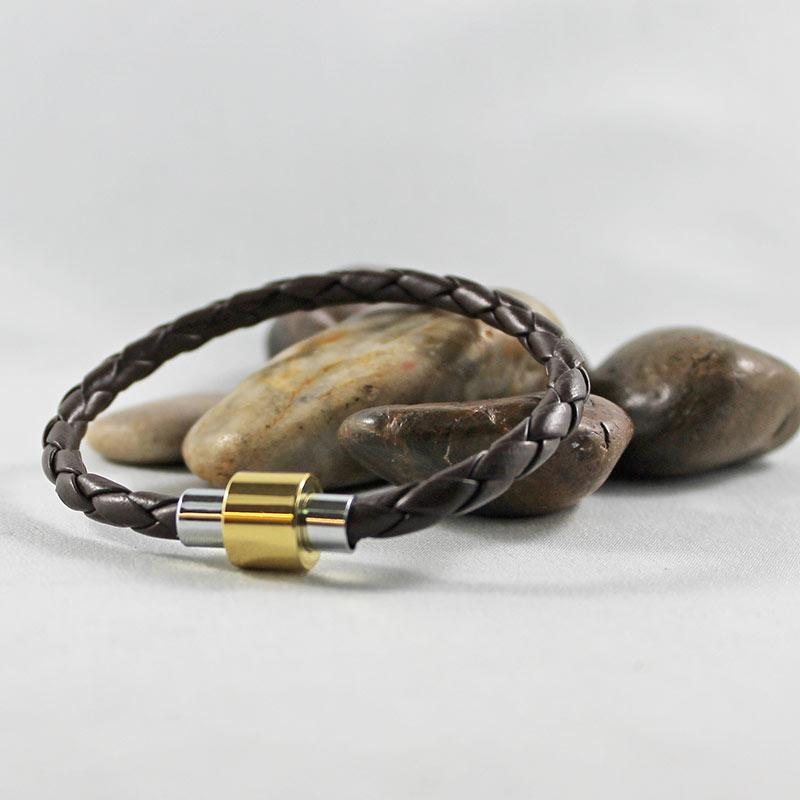 Brown Leather Silver & Gold Magnetic Clasp Bracelet - Gothic Grace