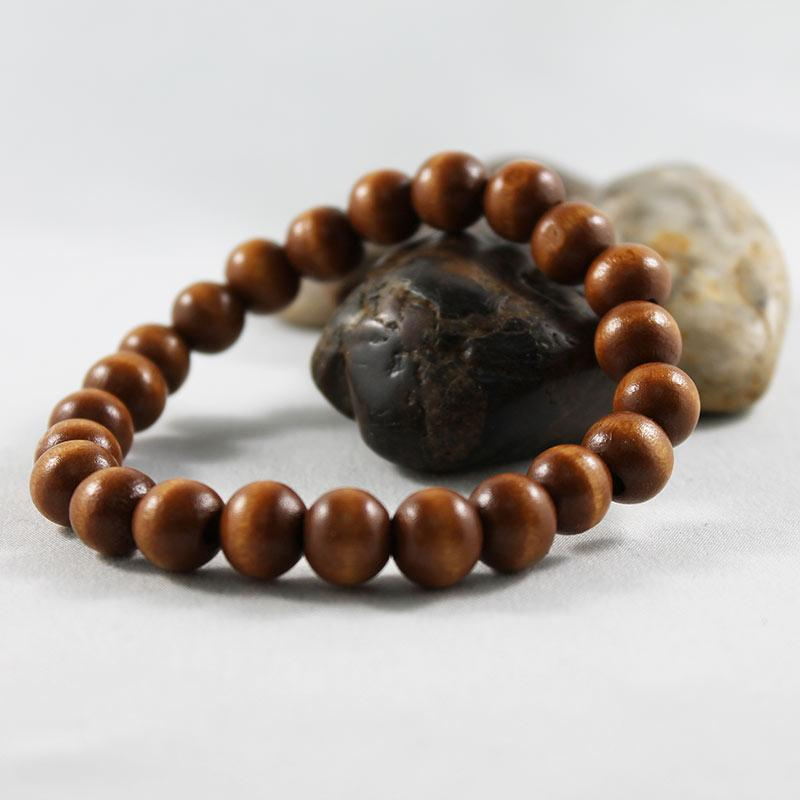 Brown Wood Bead Stretch Bracelet - Gothic Grace