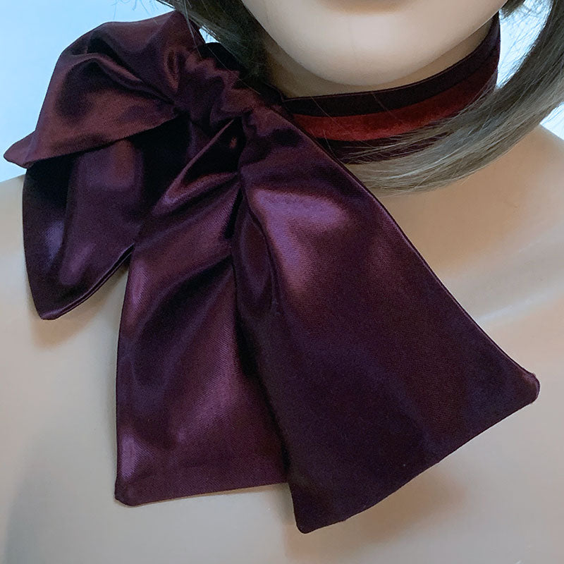 Burgundy Bow Choker Necklace | Gothic Grace