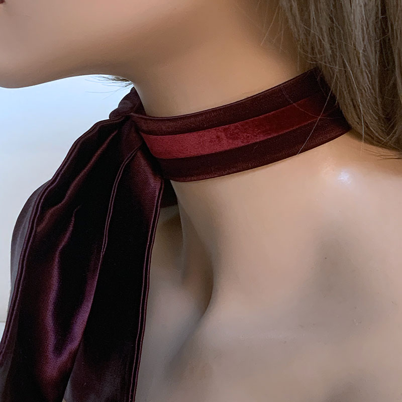 Large Burgundy Bow Choker | Gothic Grace