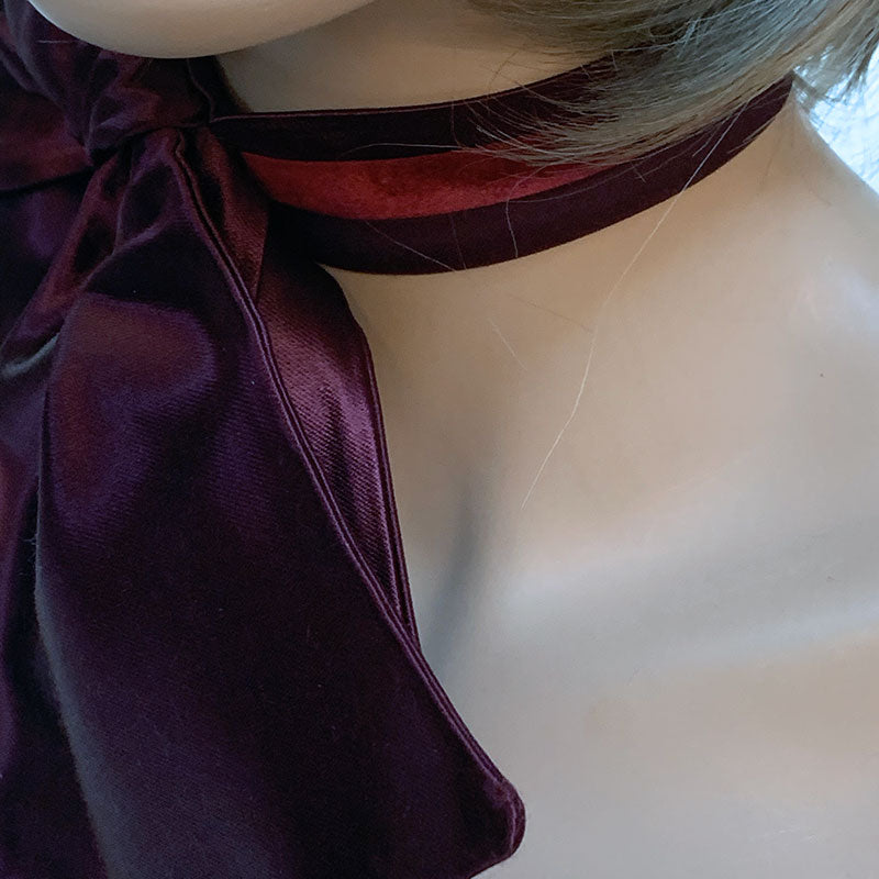 Burgundy Fabric Bow Choker | Gothic Grace