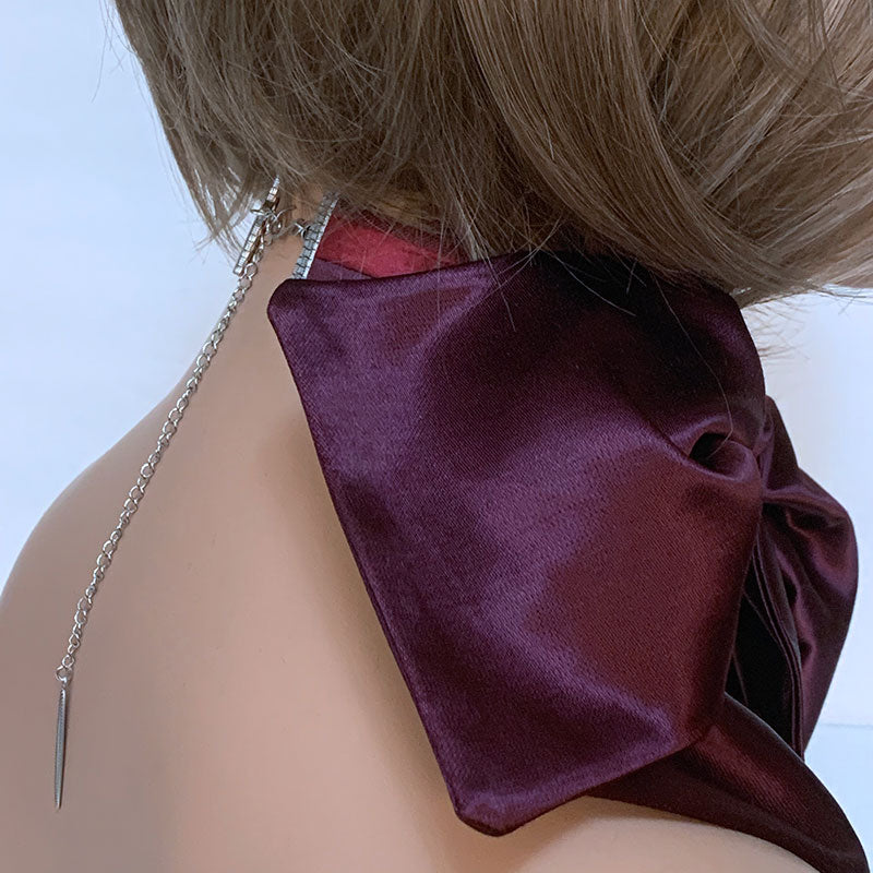 Side of Burgundy Bow Choker | Gothic Grace
